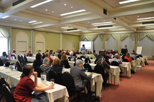 Les congressistes lors de l'atelier sur le développement durable à Orford 2010.